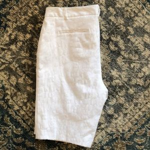 Shorts; white with marbled print
